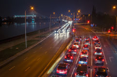 Landstraße nachts. Stockfotos