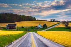 Landstraße und Ansicht von Bauernhoffeldern und -hügeln in ländlichem York Cou Lizenzfreies Stockfoto