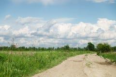 Landstraße und Felder mit Löwenzahn am warmen Sommertag Lizenzfreie Stockbilder