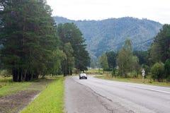 Landstraße unter den Altai-Bergen Lizenzfreie Stockbilder