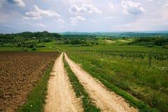 Landstraße unter Feldern auf blauem Himmel des Hintergrundes lizenzfreie stockfotos