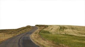 Landstraße zu einem weißen Hintergrund Stockfoto