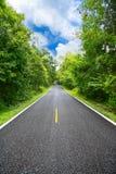 Landstraße zwischen Bezirk zur Stadt mit Bewegungsunschärfe, Reiseweise des Reisenden zur Natur, Straße im Berg Lizenzfreies Stockfoto