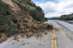 Landstraßen-Erdrutsch Los Angeles Kalifornien Lizenzfreie Stockfotos