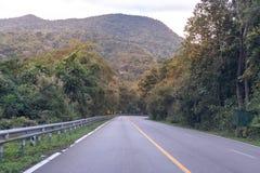 Landstraßenlandstraße gekurvt in grünen Wald durch die Berge lizenzfreie stockfotos