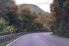 Landstraßenlandstraße gekurvt in grünen Wald durch die Berge lizenzfreies stockbild