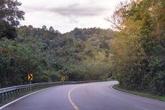 Landstraßenlandstraße gekurvt in grünen Wald durch die Berge stockbilder