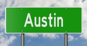 Landstraßenzeichen für Austin Texas lizenzfreie abbildung