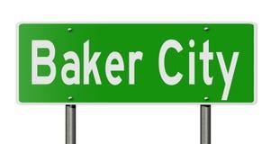 Landstraßenzeichen für Bäcker City Oregon Stockbild