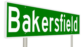 Landstraßenzeichen für Bakersfield Kalifornien Stockfotos