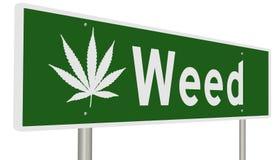 Landstraßenzeichen für Unkraut Kalifornien mit Marihuanablatt lizenzfreie abbildung