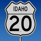 Landstraßenzeichen für Weg 20 in Idaho Lizenzfreies Stockfoto