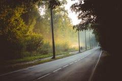 Landstraßen und Verdampfung nach Regen lizenzfreie stockfotos