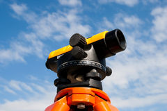 Landsurveyor equipment. Theodolite Landsurveyor equipment over blue sky Royalty Free Stock Images