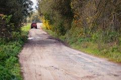 Landsväg i hösten bland de ljusa träden Arkivfoto