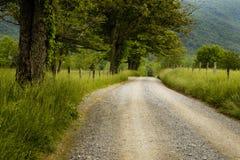 Landsväg i träna arkivbild