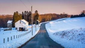 Landsvägen till och med snö täckte lantgårdfält i lantliga York Coun royaltyfria foton