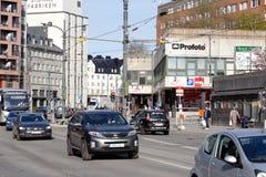 Landsvagen-Straße in Sundbyberg stockbilder