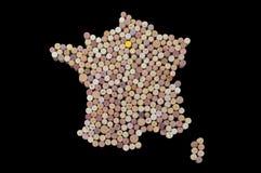 Landsvinproducenter - översikter från vinkorkar Översikt av Frankrike på bl Arkivbilder