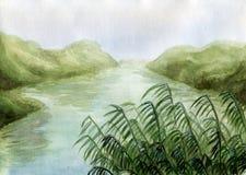 landswampvattenfärg stock illustrationer