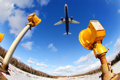 Landung Aeroflots Airbus A321 in internationalem Flughafen Sheremetyevo Lizenzfreies Stockbild
