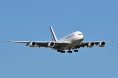 Landung Air- Franceairbus A380 stockfoto