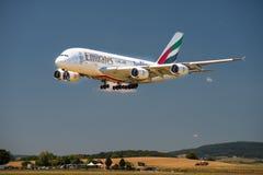 Landung Airbusses A 380 Stockbild