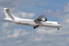 Landung des weißen Flugzeuges Stockfotografie