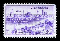 Landung Kansas Citys Skyline, 1950 und Westport, 1850, serie, cir Stockbilder