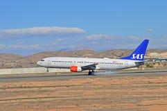 Landungs-Flugzeug-rauchende Reifen Lizenzfreie Stockfotos