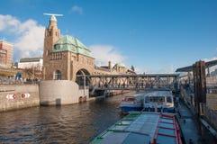 Landungsbrucken pier in the Elbe River royalty free stock photos