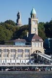 Landungsbruecken with the monument of Chancellor Bismarck. HAMBURG, GERMANY - OCTOBER 11, 2015: The harbor pier of Landungsbruecken with the monument of royalty free stock photo