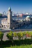 Landungsbruecken Piers in Hamburg. HAMBURG, GERMANY - OCTOBER 11, 2015: Famous Hamburger Landungsbruecken with commercial harbor and Elbe river, St. Pauli stock photos