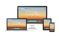 Landungsseite im entgegenkommenden Webdesign für Ihre Websitedarstellung vektor abbildung