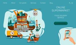 Landungsseitendesign Das Konzept des Supermarktes mit Nahrungsmittelzustelldienst und online bestellen System stock abbildung