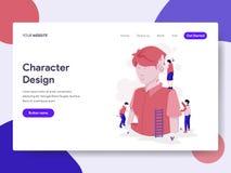 Landungsseitenschablone des Charakter-Designprozess-Illustrations-Konzeptes Isometrisches flaches Konzept des Entwurfes des Webse lizenzfreie abbildung