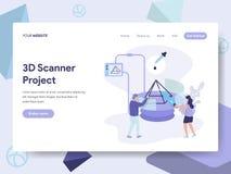Landungsseitenschablone Illustrations-des Konzeptes des Scanner-3D Isometrisches flaches Konzept des Entwurfes des Webseitenentwu stock abbildung