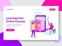 Landungsseitenschablone von Learn vom on-line-Kurs-Illustrations-Konzept Modernes flaches Konzept des Entwurfes des Webseitendesi vektor abbildung