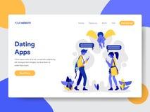 Landungsseitenschablone von Paaren mit der Datierung des Apps-Illustrations-Konzeptes Modernes flaches Konzept des Entwurfes des  stock abbildung