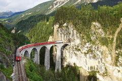 Landwasser Viaduct with train, Filisur, Switzerland Stock Photo
