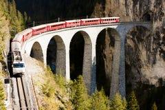 Landwasserviadukt, Switzerland. Train on Rhaetian Railway, Landwasserviadukt, canton Graubunden, Switzerland Royalty Free Stock Photography