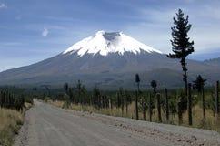 Landweg aan de vulkaan Cotopaxi Royalty-vrije Stock Fotografie