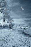 Landweg bij nacht stock foto's
