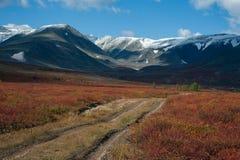 Landweg in de de herfstbergen stock afbeeldingen
