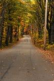 Landweg in de herfst licht New England Stock Foto's