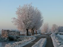 Landweg in de winter Royalty Free Stock Images