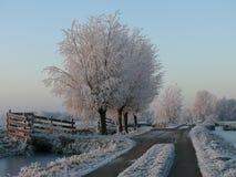Landweg in de winter Royalty Free Stock Images