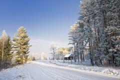 Landweg in de winter royalty-vrije stock afbeelding