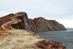 Landweg die tot de Koktebel-Baai leiden stock foto's