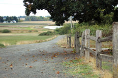 Landweg die voorbij gebied en houten omheining leiden Stock Fotografie
